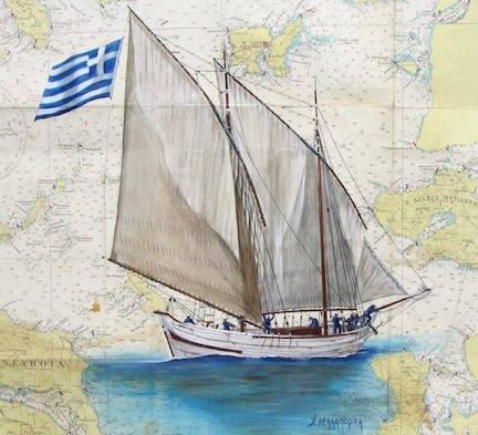 """Chryssa Dellapporta painting """"Perama,"""" reproduced w/ permission"""