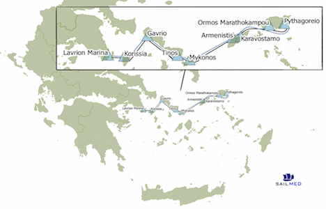 Pelago's route for Aegean Cargo Sailing's first voyage. Map: Jessica Anderson