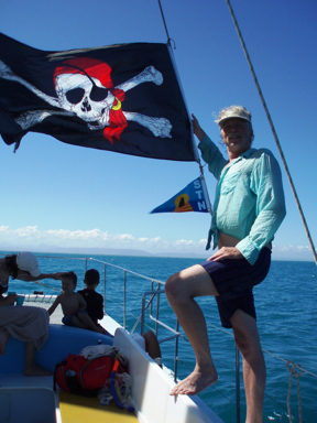 Author had nothing to do with the Jolly Roger on this yacht! Photo STN