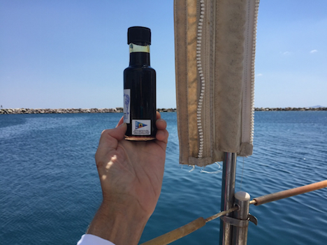 Carob syrup sailed to Samos, with sail-transport label