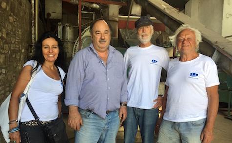 Olive oil soap factory Samos: Valia Stefanoudaki, owner Kosta, Jan Lundberg, Loucas Gourstoyannis