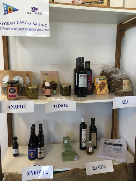 Display of sail transported goods and our brochures at an island store